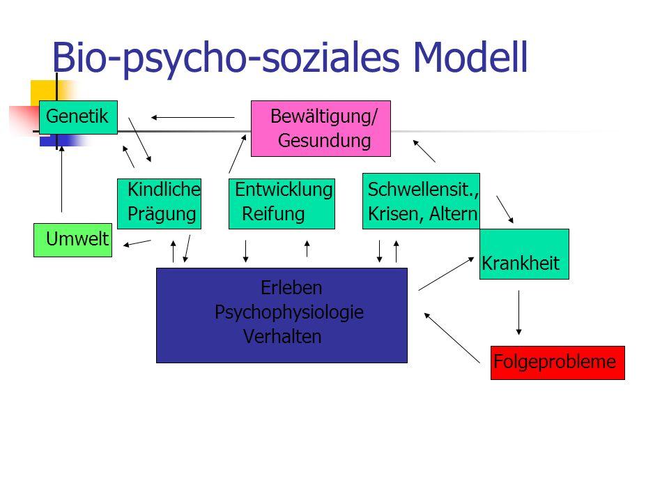 Bio-psycho-soziales Modell Genetik Bewältigung/ Gesundung Kindliche Entwicklung Schwellensit., Prägung Reifung Krisen, Altern Umwelt Krankheit Erleben