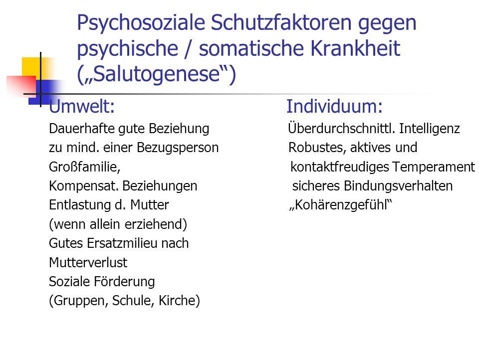 Psychosoziale Schutzfaktoren gegen psychische / somatische Krankheit (Salutogenese) Umwelt: Individuum: Dauerhafte gute Beziehung Überdurchschnittl. I