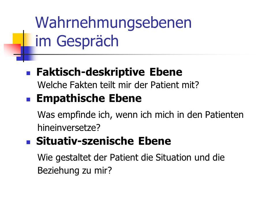 Wahrnehmungsebenen im Gespräch Faktisch-deskriptive Ebene Welche Fakten teilt mir der Patient mit? Empathische Ebene Was empfinde ich, wenn ich mich i