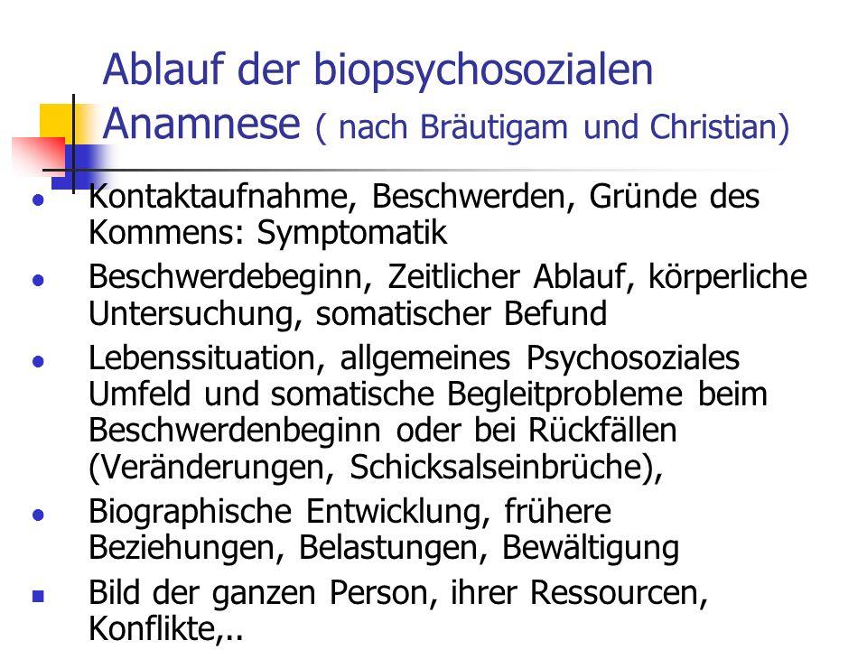 Ablauf der biopsychosozialen Anamnese ( nach Bräutigam und Christian) Kontaktaufnahme, Beschwerden, Gründe des Kommens: Symptomatik Beschwerdebeginn,