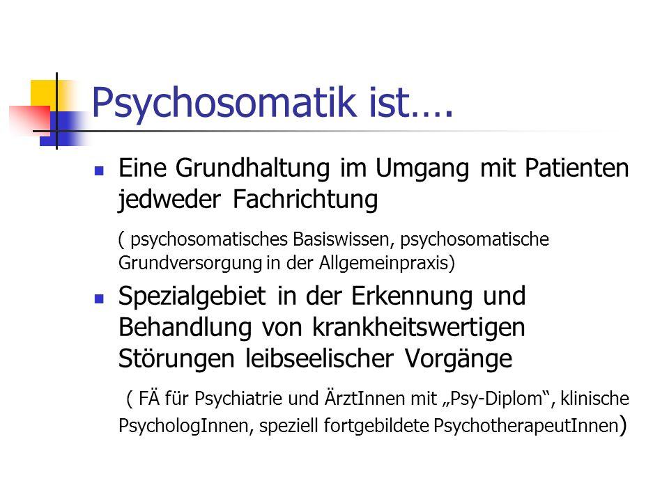 Psychosomatik ist…. Eine Grundhaltung im Umgang mit Patienten jedweder Fachrichtung ( psychosomatisches Basiswissen, psychosomatische Grundversorgung