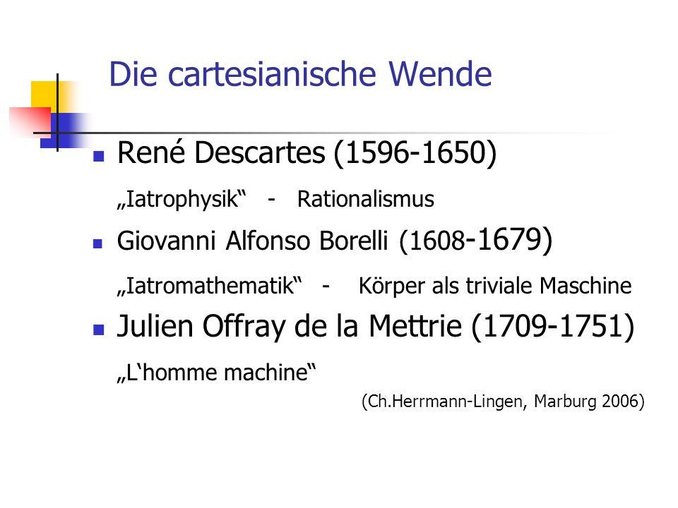Die cartesianische Wende René Descartes (1596-1650) Iatrophysik - Rationalismus Giovanni Alfonso Borelli (1608 -1679) Iatromathematik - Körper als triviale Maschine Julien Offray de la Mettrie (1709-1751) Lhomme machine (Ch.Herrmann-Lingen, Marburg 2006)