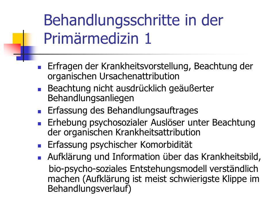Behandlungsschritte in der Primärmedizin 1 Erfragen der Krankheitsvorstellung, Beachtung der organischen Ursachenattribution Beachtung nicht ausdrückl