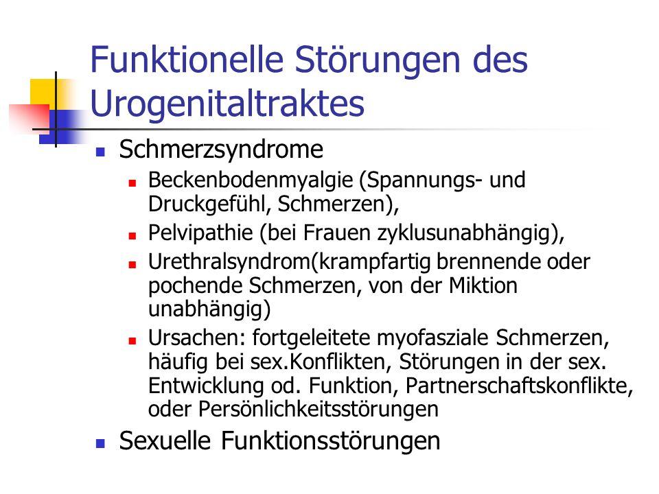 Funktionelle Störungen des Urogenitaltraktes Schmerzsyndrome Beckenbodenmyalgie (Spannungs- und Druckgefühl, Schmerzen), Pelvipathie (bei Frauen zyklu