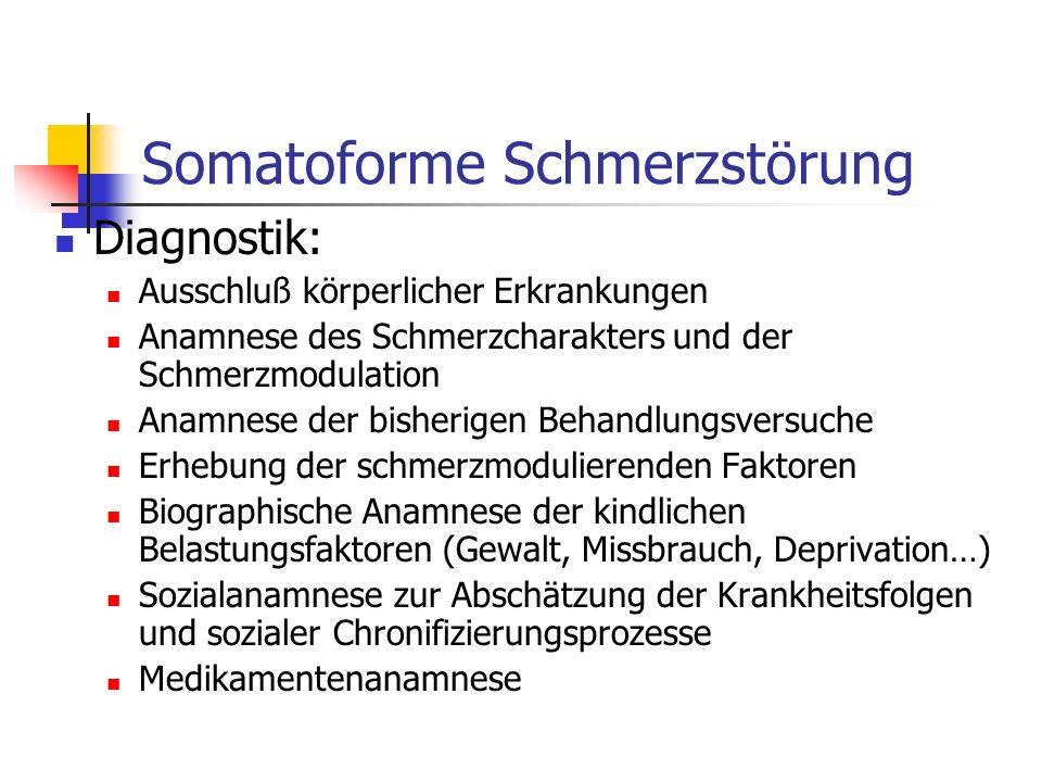 Somatoforme Schmerzstörung Diagnostik: Ausschluß körperlicher Erkrankungen Anamnese des Schmerzcharakters und der Schmerzmodulation Anamnese der bishe