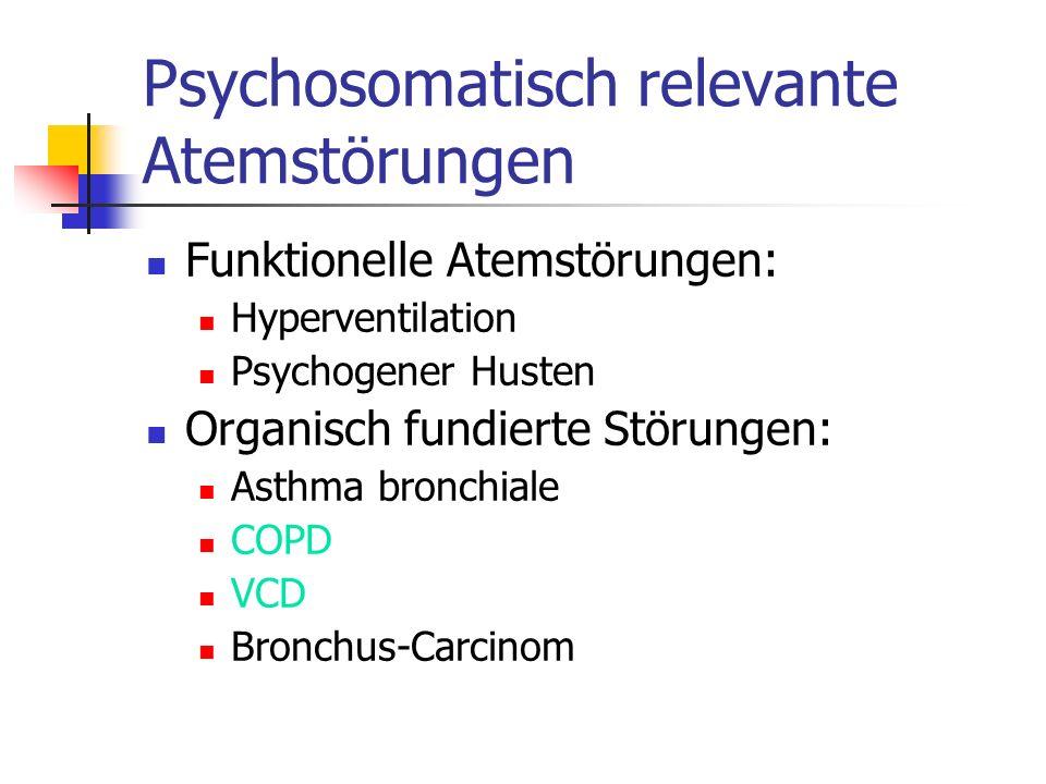 Psychosomatisch relevante Atemstörungen Funktionelle Atemstörungen: Hyperventilation Psychogener Husten Organisch fundierte Störungen: Asthma bronchia