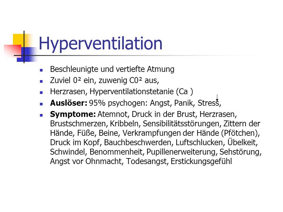 Hyperventilation Beschleunigte und vertiefte Atmung Zuviel 0² ein, zuwenig C0² aus, Herzrasen, Hyperventilationstetanie (Ca ) Auslöser: 95% psychogen: