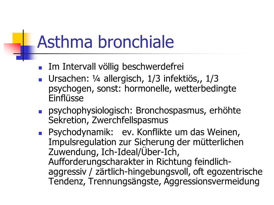 Asthma bronchiale Im Intervall völlig beschwerdefrei Ursachen: ¼ allergisch, 1/3 infektiös,, 1/3 psychogen, sonst: hormonelle, wetterbedingte Einflüss