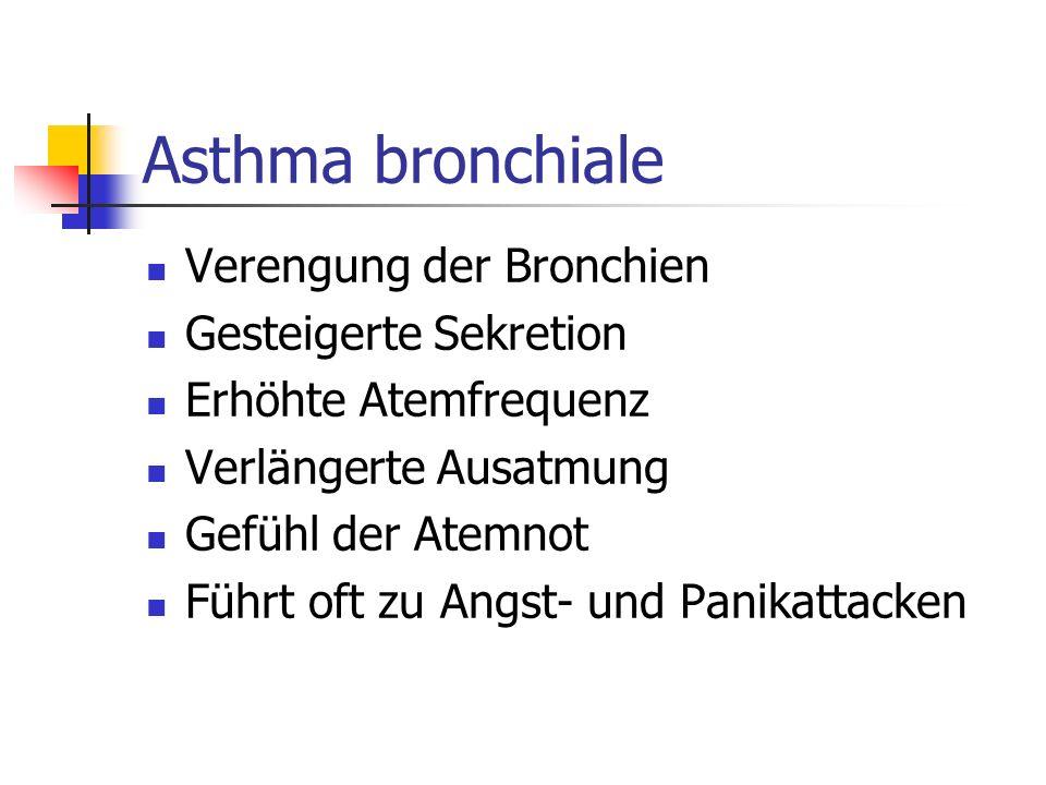 Asthma bronchiale Verengung der Bronchien Gesteigerte Sekretion Erhöhte Atemfrequenz Verlängerte Ausatmung Gefühl der Atemnot Führt oft zu Angst- und