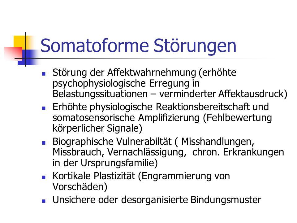 6 Somatoforme Störungen Äthiopathogenese: Durch kindliche Belastungsfatoren erhöhte Vulnerabilität Aktuelle Auslöser der Schmerzstörung: Krankheit, Unfall, Trauma, schwere psychosoziale Belastungen oder Konflikte Vulnerabilitätsfaktoren: Biographische Belastungen, chron.KH in Ursprungsfamilie, Bindungsstörung, unreife Konfliktbewältigungsstrategien, Beeinträchtigung der Affektwahrnehmung (Schmerz als Äquivalent für Angst, Scham, Depression), erhöhte physiologische Reaktionsbereitschaft ( Umsetzung von Stress in körperliche Spannungszustände), somatosensorische Amplifizierung ( Fehldeutung psychophysiologischer Reaktionen)