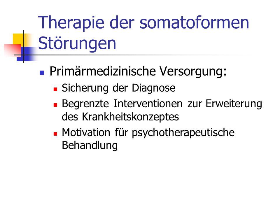 Therapie der somatoformen Störungen Primärmedizinische Versorgung: Sicherung der Diagnose Begrenzte Interventionen zur Erweiterung des Krankheitskonze