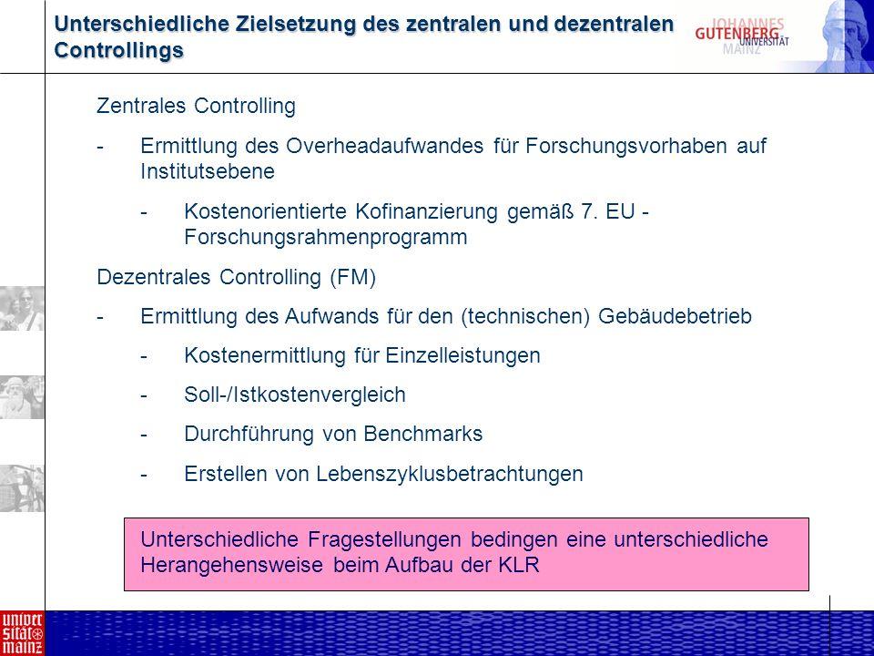 Unterschiedliche Zielsetzung des zentralen und dezentralen Controllings Zentrales Controlling -Ermittlung des Overheadaufwandes für Forschungsvorhaben auf Institutsebene -Kostenorientierte Kofinanzierung gemäß 7.