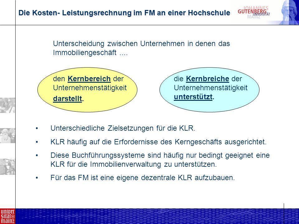 Die Kosten- Leistungsrechnung im FM an einer Hochschule Unterscheidung zwischen Unternehmen in denen das Immobiliengeschäft....