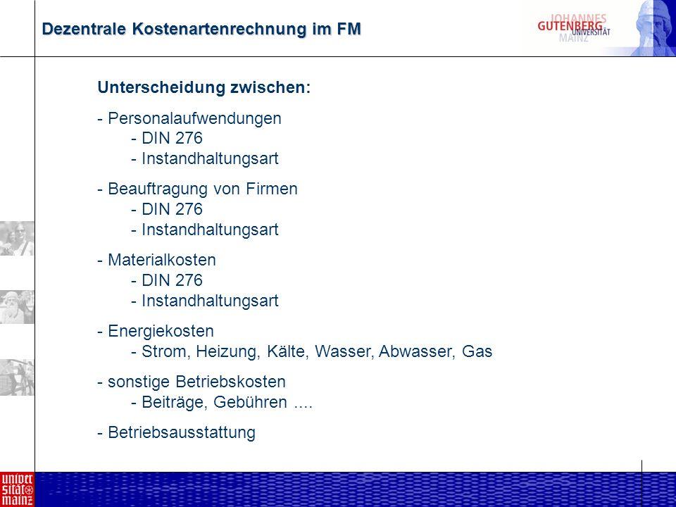 Dezentrale Kostenartenrechnung im FM Kriterienfeld Instandhaltungsart