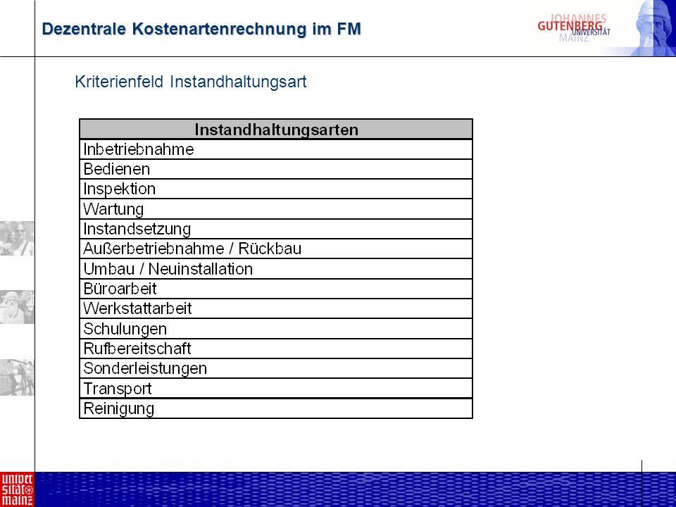 Dezentrale Kostenartenrechnung im FM Kriterienfeld DIN 276