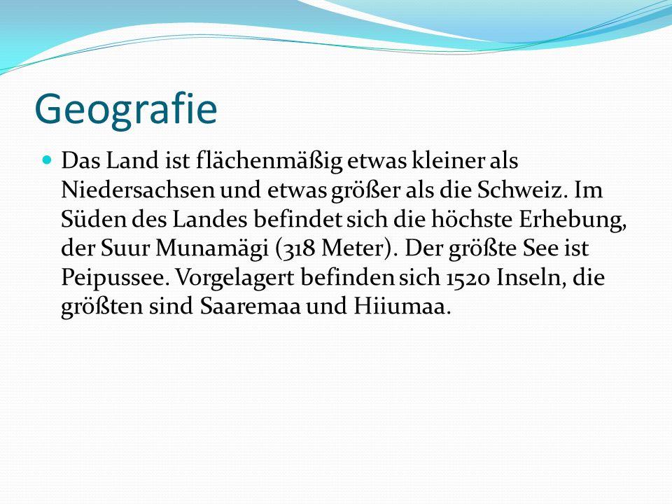 Geografie Das Land ist flächenmäßig etwas kleiner als Niedersachsen und etwas größer als die Schweiz.
