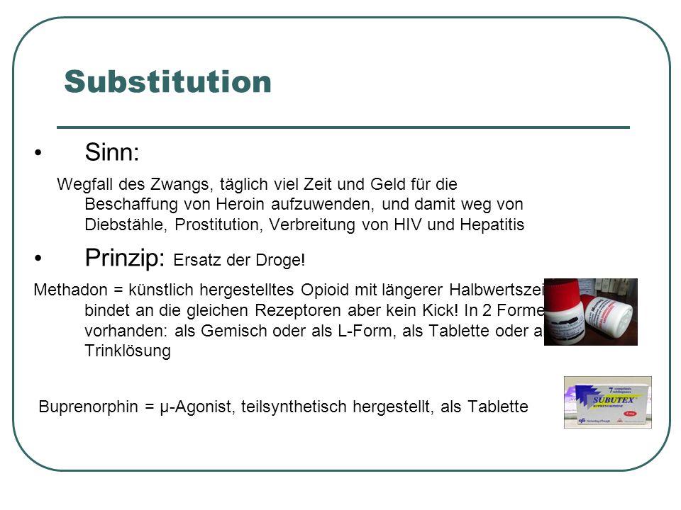 Substitution Buprenorphin (SUBOXONE ®, SUBUTEX ® ) DL-Methadon (Razemat) als Rezeptur und Fertigarzneimittel (Methaddict ® ) Levomethadon (Enantiomer, L-Polamidon ® ) Diamorphin (Heroin im Rahmen der Heroinstudie; bisher keine Zulassung außerhalb der Heroinstudie) Mit der 15.