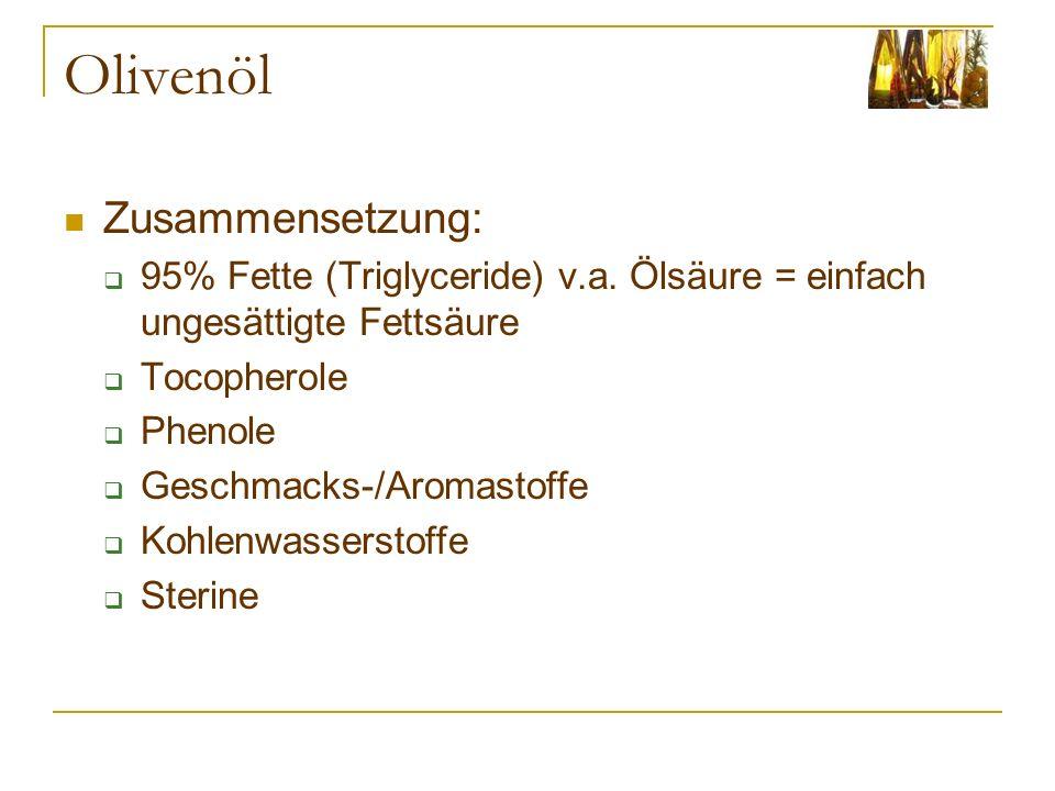 Olivenöl Zusammensetzung: 95% Fette (Triglyceride) v.a. Ölsäure = einfach ungesättigte Fettsäure Tocopherole Phenole Geschmacks-/Aromastoffe Kohlenwas