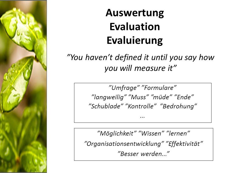 Auswertung/Evaluation/Evaluierung Definition Evaluation ist die systematische Untersuchung des Nutzens oder Wertes eines Gegenstandes Zweck Kontrollieren Lernen Formen Formativ/On-going Summativ Ansätze Prozess Effekte Sozio-ökonomische Analyse