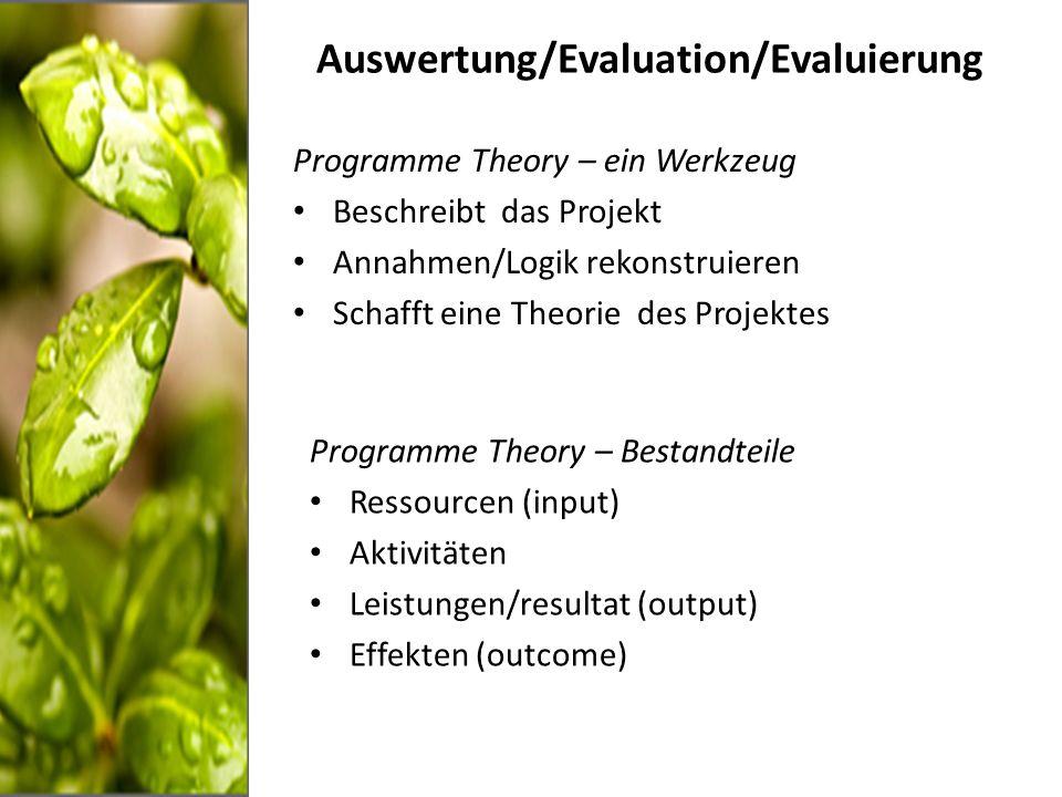 Auswertung/Evaluation/Evaluierung Programme Theory – ein Werkzeug Beschreibt das Projekt Annahmen/Logik rekonstruieren Schafft eine Theorie des Projektes Programme Theory – Bestandteile Ressourcen (input) Aktivitäten Leistungen/resultat (output) Effekten (outcome)