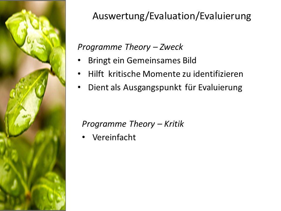 Auswertung/Evaluation/Evaluierung Programme Theory – Zweck Bringt ein Gemeinsames Bild Hilft kritische Momente zu identifizieren Dient als Ausgangspunkt für Evaluierung Programme Theory – Kritik Vereinfacht