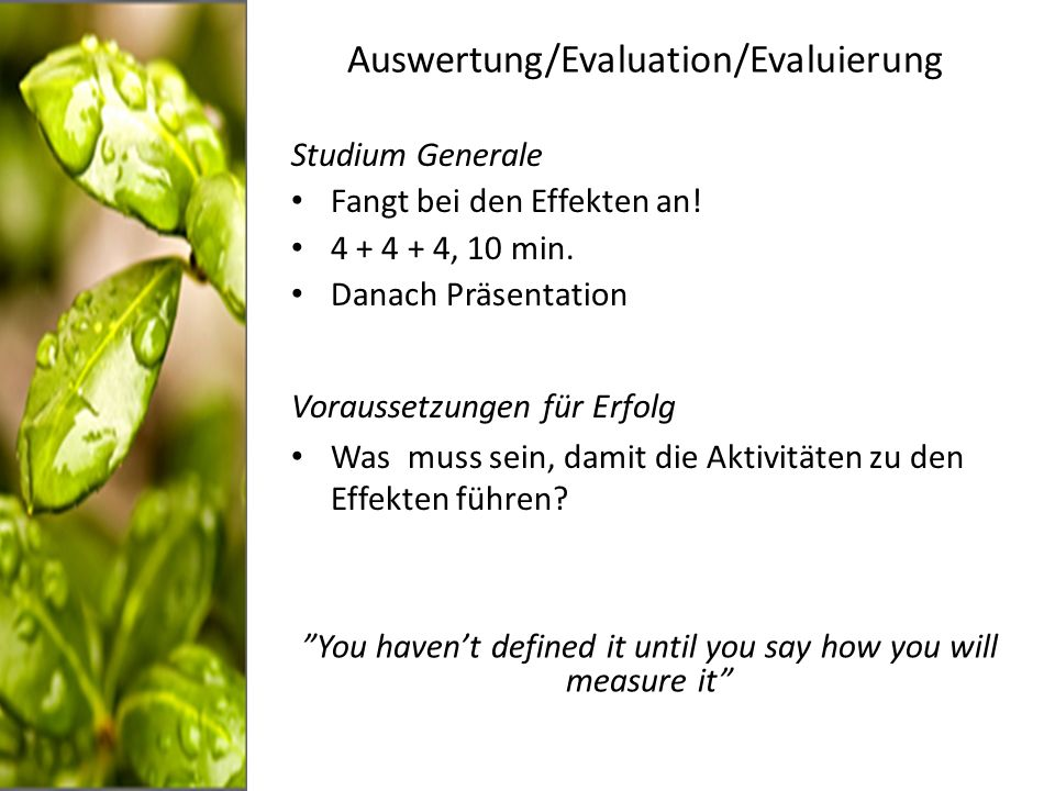 Auswertung/Evaluation/Evaluierung Studium Generale Fangt bei den Effekten an.