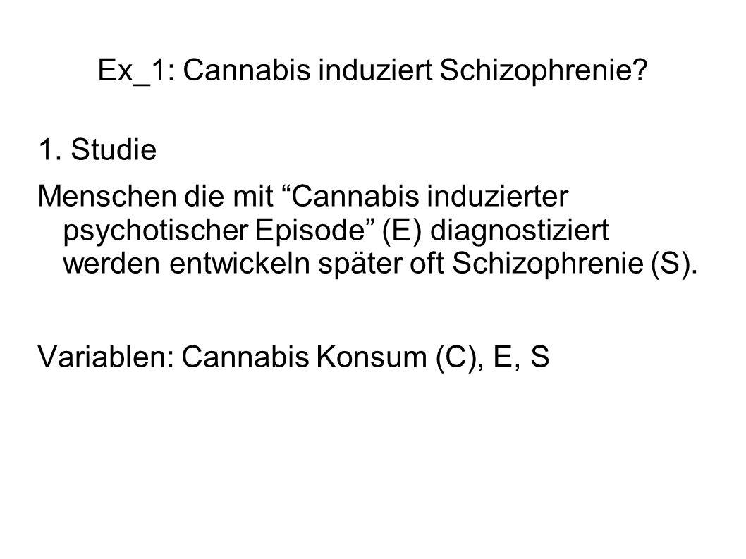 Ex_1: Cannabis induziert Schizophrenie? 1. Studie Menschen die mit Cannabis induzierter psychotischer Episode (E) diagnostiziert werden entwickeln spä