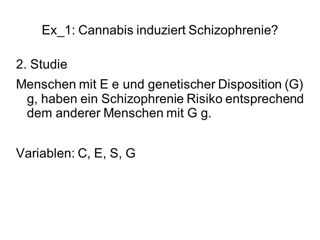Ex_1: Cannabis induziert Schizophrenie? 2. Studie Menschen mit E e und genetischer Disposition (G) g, haben ein Schizophrenie Risiko entsprechend dem