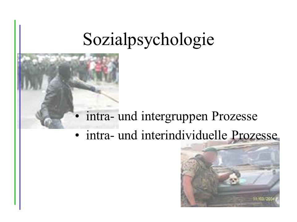 Sozialpsychologie intra- und intergruppen Prozesse intra- und interindividuelle Prozesse