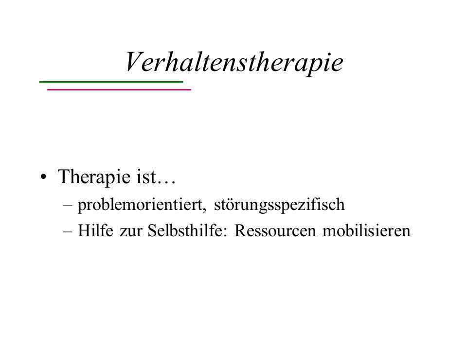 Verhaltenstherapie Therapie beinhaltet… –Entspannungsverfahren –operante Methoden –kognitive Methoden –Selbstkontrollverfahren –Konfrontationsverfahren –Training sozialer Kompetenz