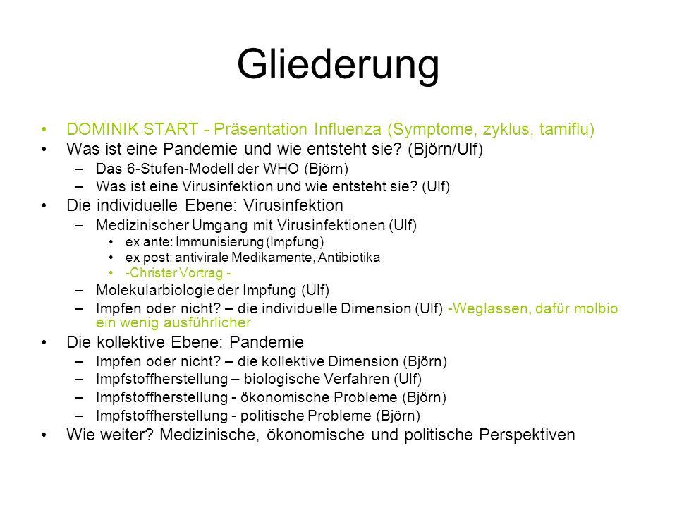 Gliederung DOMINIK START - Präsentation Influenza (Symptome, zyklus, tamiflu) Was ist eine Pandemie und wie entsteht sie? (Björn/Ulf) –Das 6-Stufen-Mo