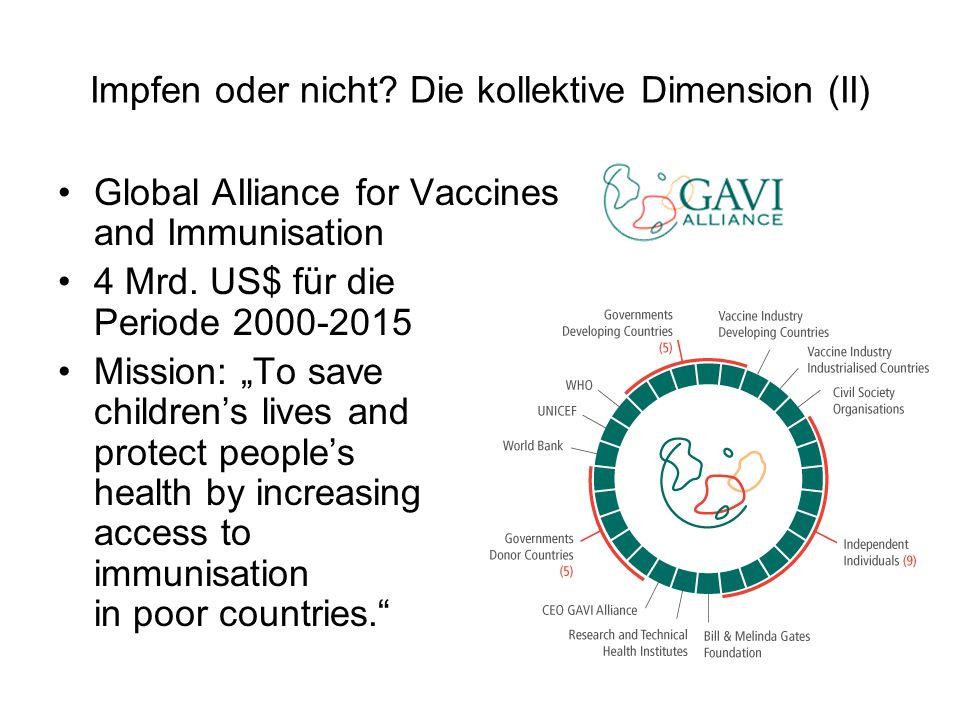 Impfen oder nicht? Die kollektive Dimension (II) Global AIliance for Vaccines and Immunisation 4 Mrd. US$ für die Periode 2000-2015 Mission: To save c