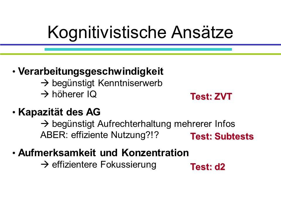 Kognitivistische Ansätze Verarbeitungsgeschwindigkeit begünstigt Kenntniserwerb höherer IQ Kapazität des AG begünstigt Aufrechterhaltung mehrerer Infos ABER: effiziente Nutzung?!.