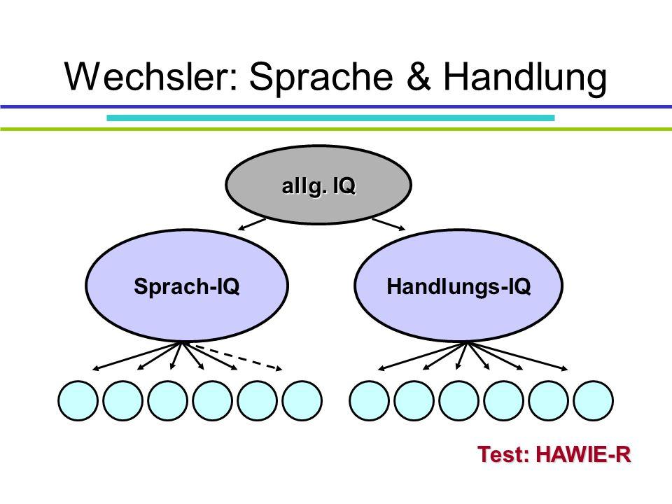 Wechsler: Sprache & Handlung Test: HAWIE-R Sprach-IQHandlungs-IQ allg. IQ