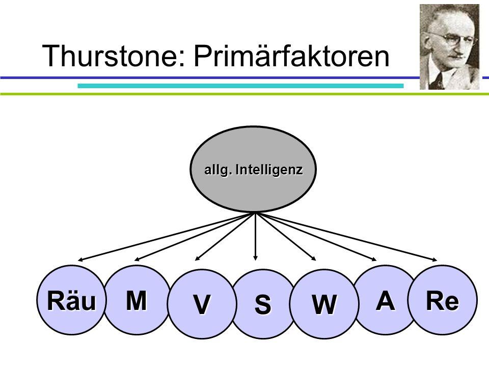 Thurstone: Primärfaktoren A S M VW ReRäu allg. Intelligenz