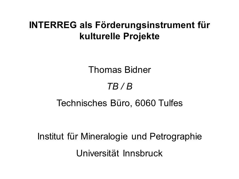 Interreg III B - Alpenraum