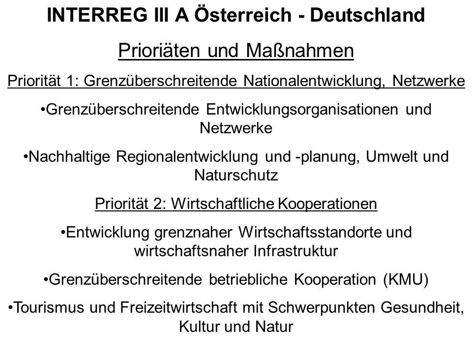 INTERREG III A Österreich - Deutschland Prioriäten und Maßnahmen Priorität 1: Grenzüberschreitende Nationalentwicklung, Netzwerke Grenzüberschreitende