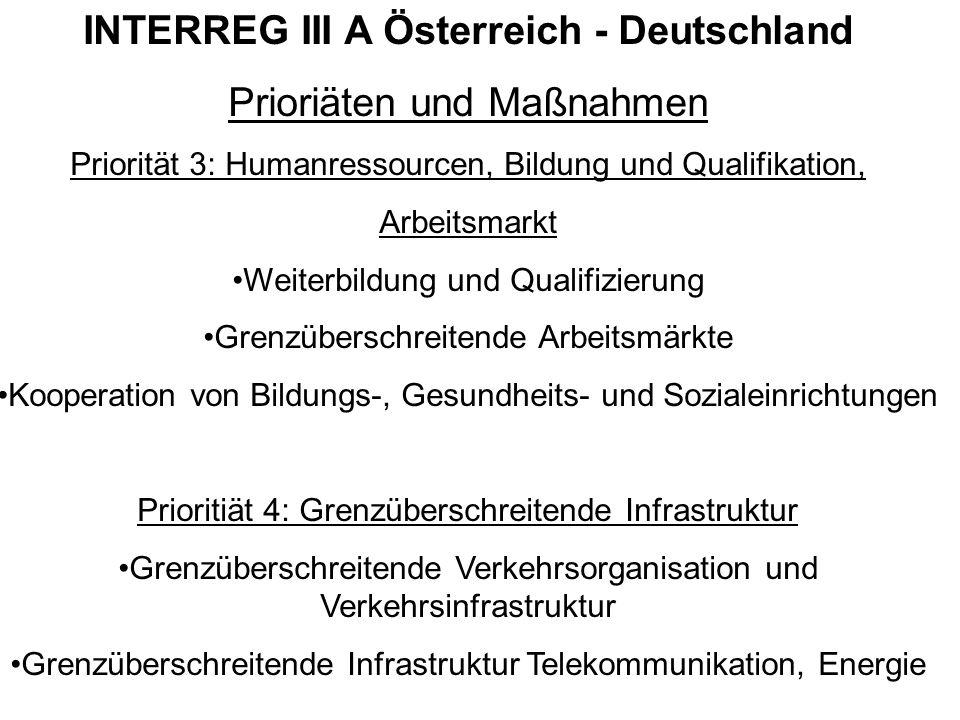 INTERREG III A Österreich - Deutschland Prioriäten und Maßnahmen Priorität 3: Humanressourcen, Bildung und Qualifikation, Arbeitsmarkt Weiterbildung u