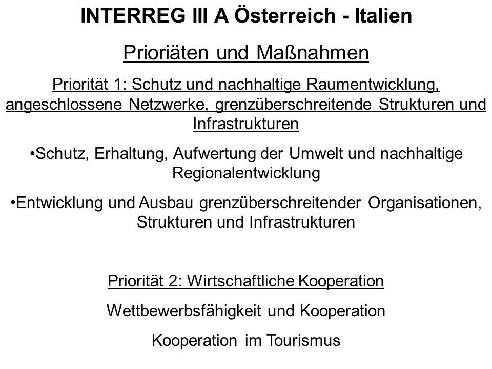 INTERREG III A Österreich - Italien Prioriäten und Maßnahmen Priorität 1: Schutz und nachhaltige Raumentwicklung, angeschlossene Netzwerke, grenzübers