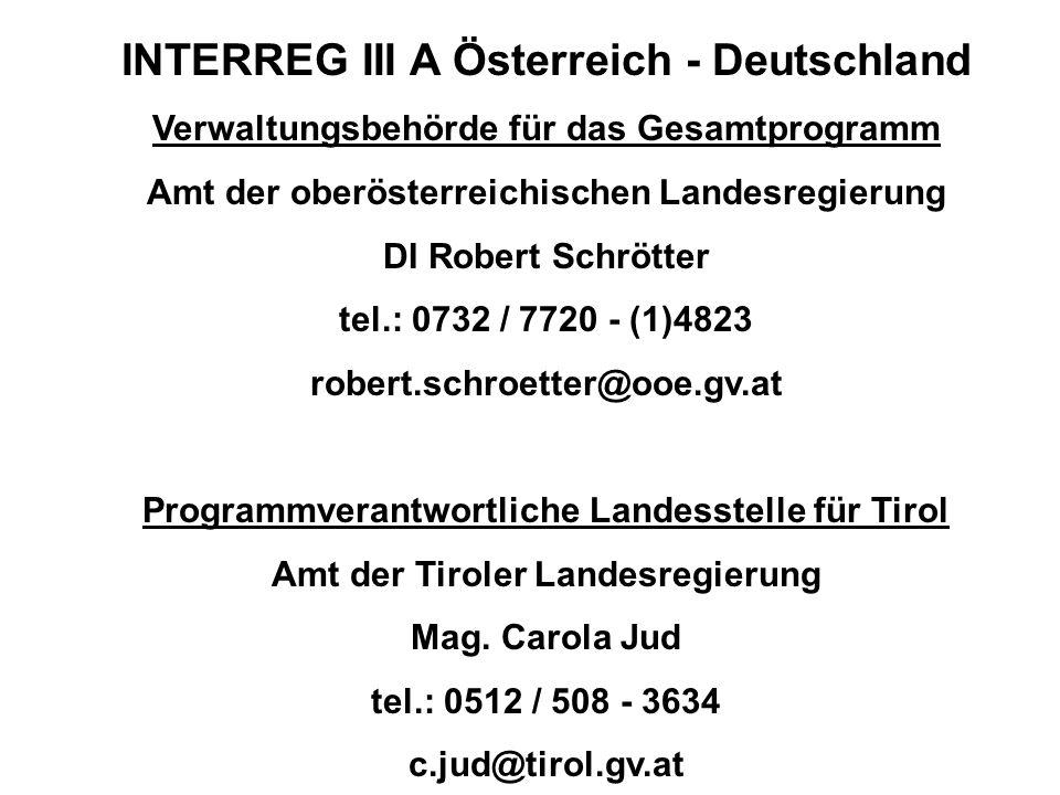 INTERREG III A Österreich - Deutschland Verwaltungsbehörde für das Gesamtprogramm Amt der oberösterreichischen Landesregierung DI Robert Schrötter tel