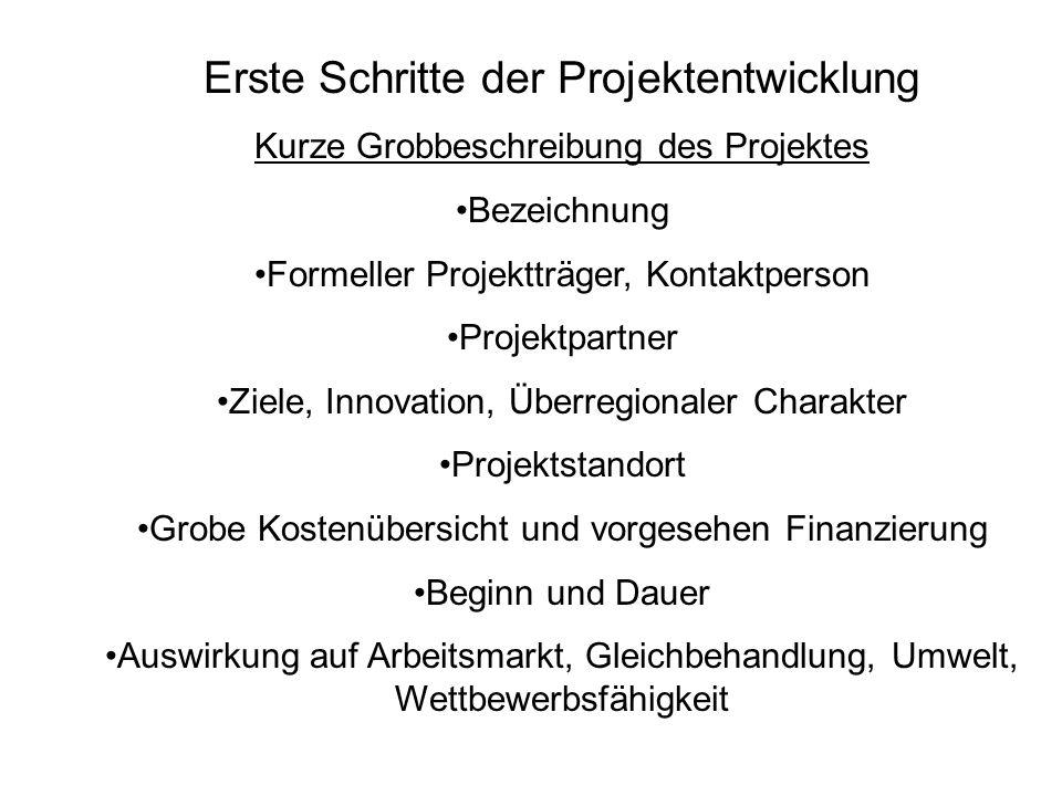 Erste Schritte der Projektentwicklung Kurze Grobbeschreibung des Projektes Bezeichnung Formeller Projektträger, Kontaktperson Projektpartner Ziele, In