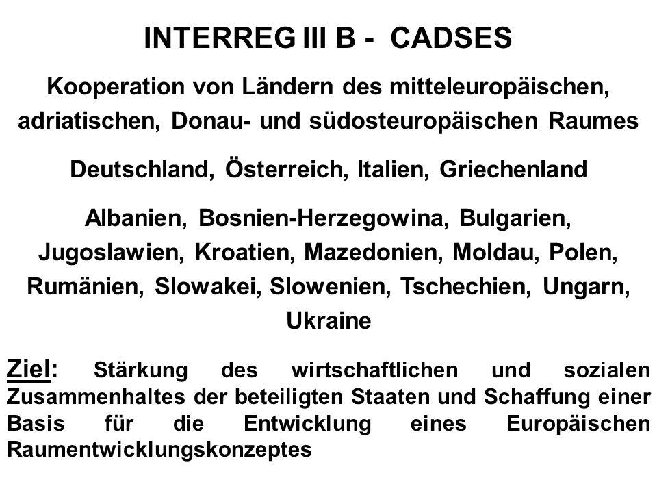INTERREG III A Österreich - Deutschland Prioriäten und Maßnahmen Priorität 3: Humanressourcen, Bildung und Qualifikation, Arbeitsmarkt Weiterbildung und Qualifizierung Grenzüberschreitende Arbeitsmärkte Kooperation von Bildungs-, Gesundheits- und Sozialeinrichtungen Prioritiät 4: Grenzüberschreitende Infrastruktur Grenzüberschreitende Verkehrsorganisation und Verkehrsinfrastruktur Grenzüberschreitende Infrastruktur Telekommunikation, Energie