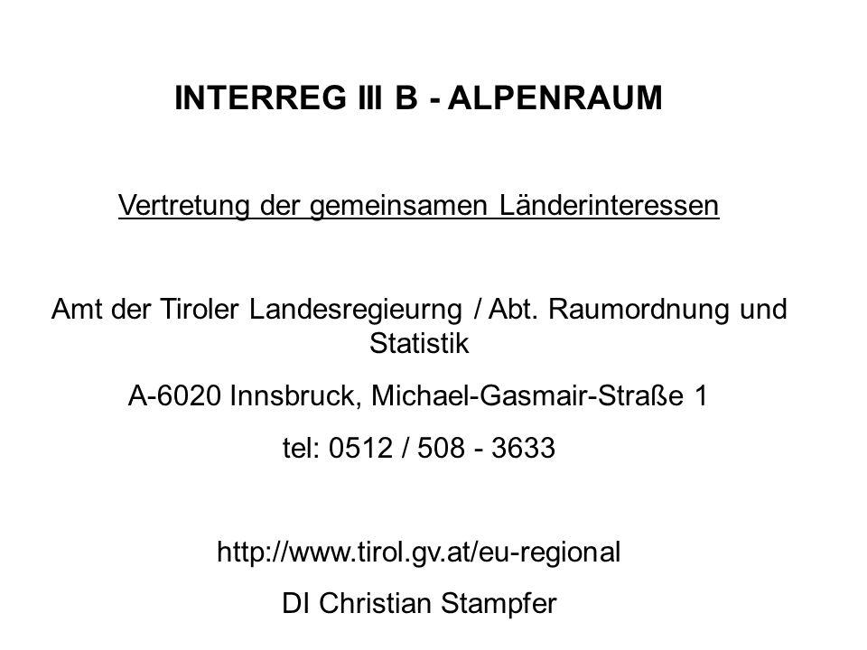 INTERREG III A Österreich - Deutschland Verwaltungsbehörde für das Gesamtprogramm Amt der oberösterreichischen Landesregierung DI Robert Schrötter tel.: 0732 / 7720 - (1)4823 robert.schroetter@ooe.gv.at Programmverantwortliche Landesstelle für Tirol Amt der Tiroler Landesregierung Mag.