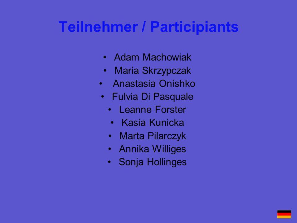 Teilnehmer / Participiants Adam Machowiak Maria Skrzypczak Anastasia Onishko Fulvia Di Pasquale Leanne Forster Kasia Kunicka Marta Pilarczyk Annika Wi