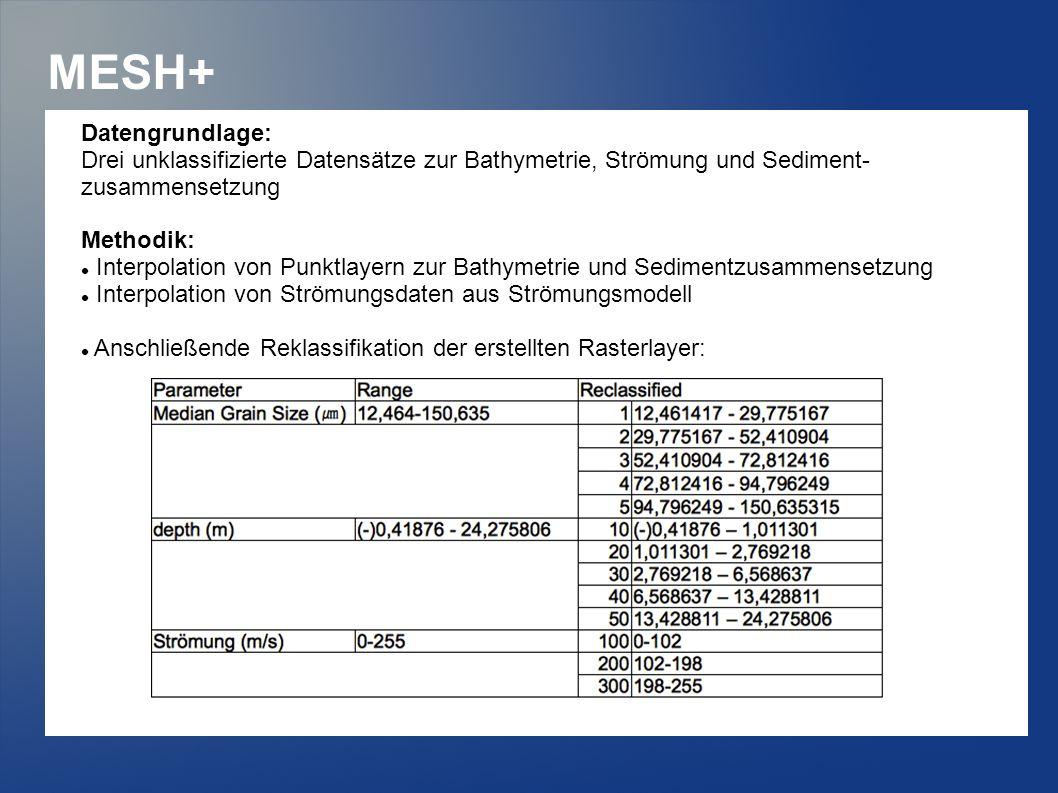 MESH+ Datengrundlage: Drei unklassifizierte Datensätze zur Bathymetrie, Strömung und Sediment- zusammensetzung Methodik: Interpolation von Punktlayern zur Bathymetrie und Sedimentzusammensetzung Interpolation von Strömungsdaten aus Strömungsmodell Anschließende Reklassifikation der erstellten Rasterlayer: