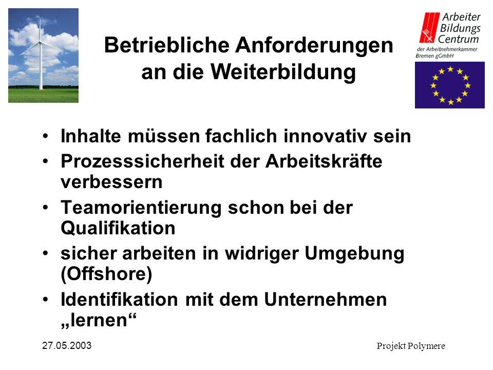 27.05.2003Projekt Polymere Betriebliche Anforderungen an die Weiterbildung Inhalte müssen fachlich innovativ sein Prozesssicherheit der Arbeitskräfte