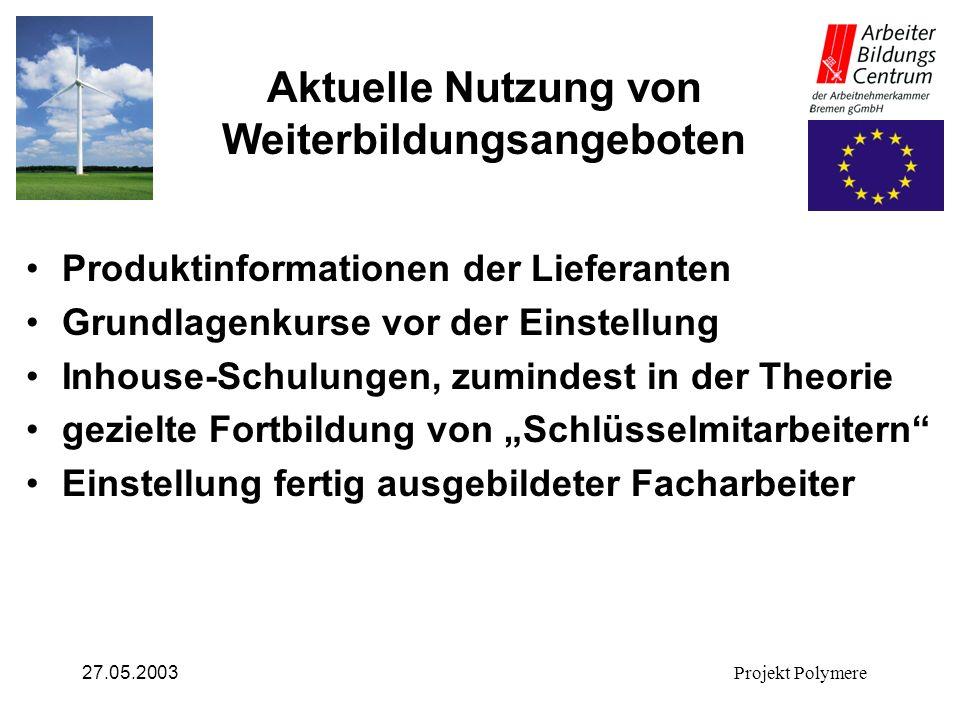 27.05.2003Projekt Polymere Aktuelle Nutzung von Weiterbildungsangeboten Produktinformationen der Lieferanten Grundlagenkurse vor der Einstellung Inhou