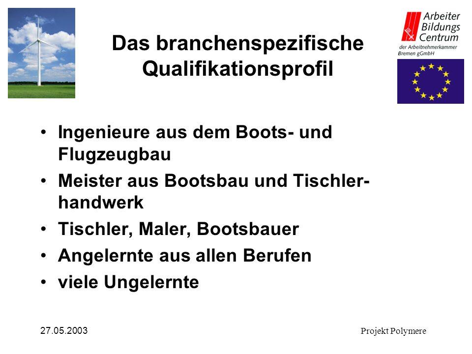 27.05.2003Projekt Polymere Das branchenspezifische Qualifikationsprofil Ingenieure aus dem Boots- und Flugzeugbau Meister aus Bootsbau und Tischler- h