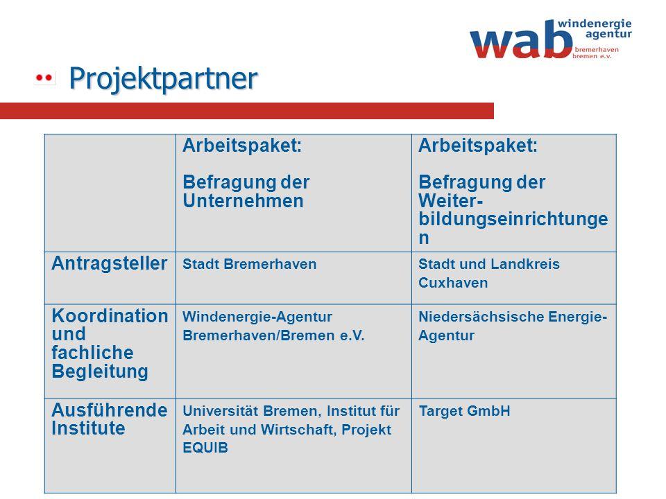 Projektpartner Projektpartner Arbeitspaket: Befragung der Unternehmen Arbeitspaket: Befragung der Weiter- bildungseinrichtunge n Antragsteller Stadt B
