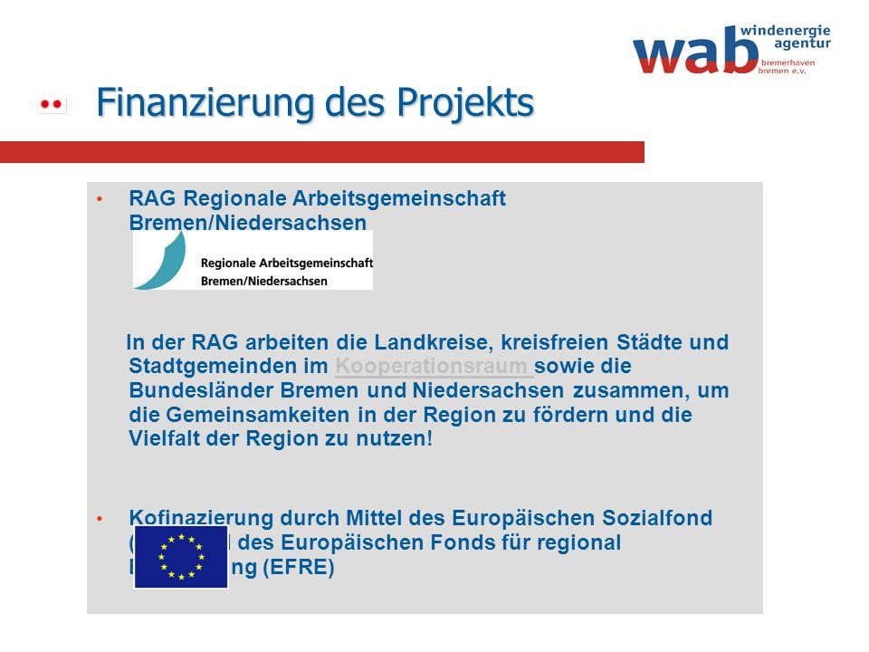 Finanzierung des Projekts RAG Regionale Arbeitsgemeinschaft Bremen/Niedersachsen In der RAG arbeiten die Landkreise, kreisfreien Städte und Stadtgemei